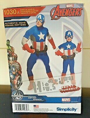 Simplicity 1030 Captain America Costume Sewing Pattern Father Son Men Boys