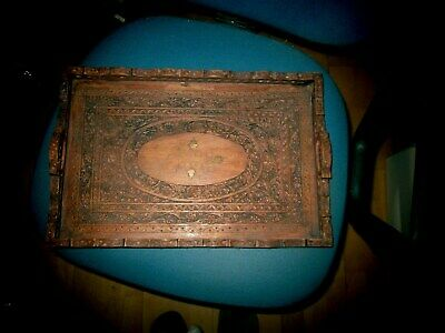 Vintage Indian Carved Teak  Serving  Tray with Brass Inlays