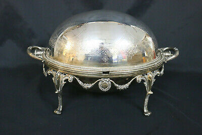 Walker & Hall 1880s English Plated Footed Serving Dish w/Engraved Revolving Dome