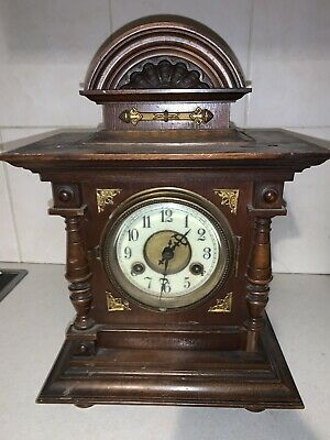 Vintage Antique Junghan's German 8 Day Chiming Mantle Bracket Clock Resto