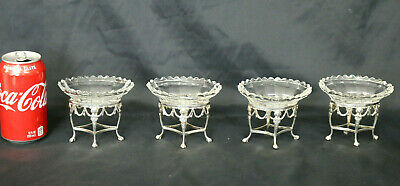 Set Of 4 Moses Brant Footed Sterling Silver w/ Crystal Salt Cellar Bowls London