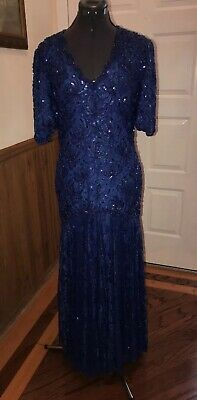 Vintage CACHE Beaded Sequined Gown Dress Size S MOTHER OF BRIDE BLUE MERMAID