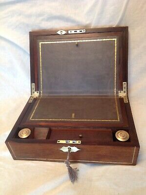 Beautiful Georgian Rosewood Writing Slope/Working Lock/Key/Two Inkwells