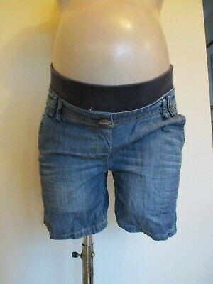 New Look Yes Yes Maternity Blue Denim Under Bump Jeans Shorts Size 8