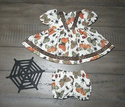 """Handmade Doll Clothes for 11"""" - 13"""" Baby Dolls - """"Fall Bugs & Spiders"""" Dress Set"""