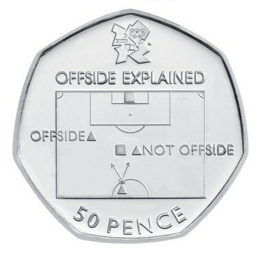 Olympic '0ffSide Rule' 50p Fifty Pence Coin Circulated 'FOOTBALL' 2011