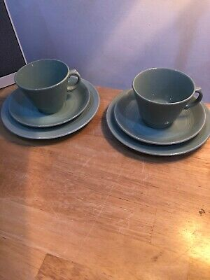 2 Woods Ware Beryl Tea Trio Cups Saucers Plates Green 1940s Retro Vintage x 2
