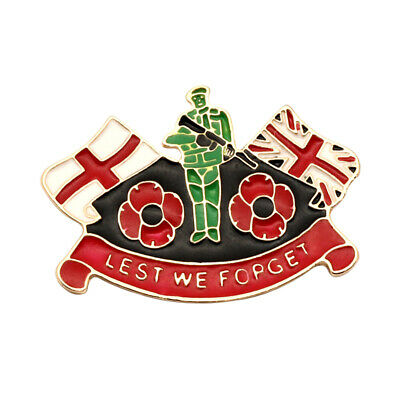 Lest We Forget Poppy Remembrance Day 2019 ENGLAND Metal Lapel Pin Badge