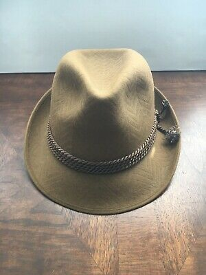 Vintage Tonak Men's Felt Fedora Hat, Tan • Rope Band • Made in Czech Republic