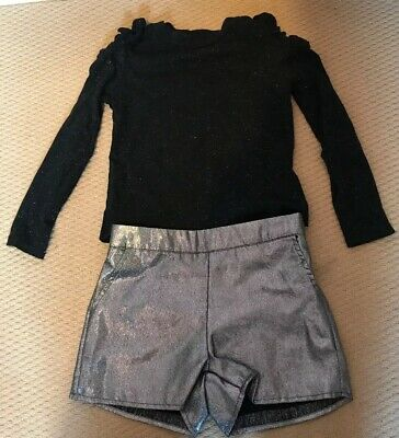 M&S Marks Sparkly Black Silver 2 Piece Set, Shorts & Top, Party Outfit Age 6-7