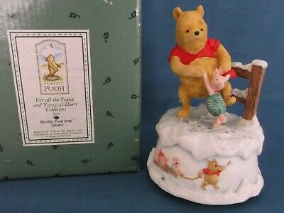 Border Fine Arts Winnie The Pooh Piglet Figures Winter Musical Snow Boxed Rare