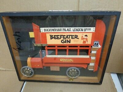 English Collage Wooden Vehicle Beefeater Gin Londons First Framed 11X8