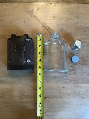 VINTAGE 16 oz. GLASS FLASK MADE IN ENGLAND BLACK REAL HIDE COVER