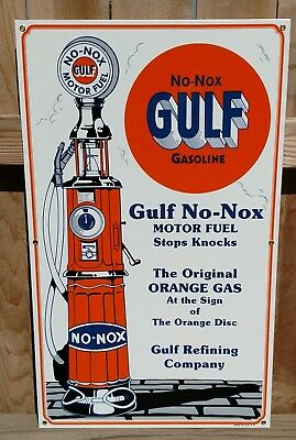 "GULF NO-NOX CLOCK FACE GAS PUMP PORCELAIN SIGN 1930's ""STYLE"" - LARGE 2 1/2 FEET"