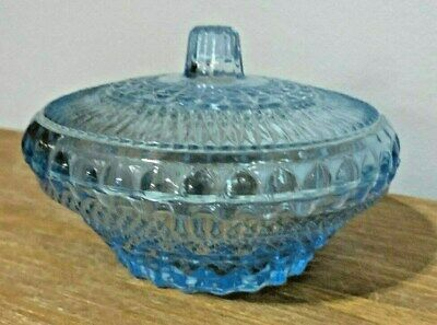 Vintage Covered Fenton Type Candy Dish With Lid Ice Blue Indiana Glass USA