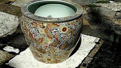 ANTIQUE 19c JAPANESE GILT PORCELAIN GOLD FISH HAND PAINTED BUTTERFLY BOWL,MARKED