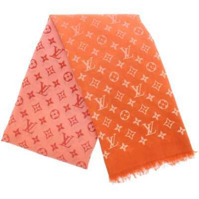 LOUIS VUITTON Monogram Pattern Cotton Orange Pink Stole M70508 Italy