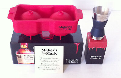 Rare Makers Mark Bourbon Double Ice Mould & Makers Mark Bourbon Jigger