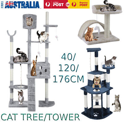 40/120/176cm Cat Tree Scratching Post Scratcher Tower Condo House Furniture Wood