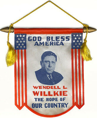1940 Wendell Willkie HOPE OF OUR COUNTRY Window Banner (4960)