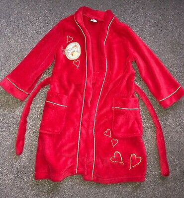Disney Princess Belle Red Dressing Gown 5-6 years Girls  Robe Fleece