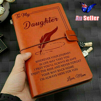 To My Daughter Where Ever Love Mom Engraved Leather Journal Notebook Diary AU