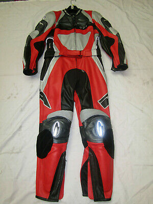 Richa Ladies Two Piece Red / Black / Grey Leather Motorcycle Suit - Uk 16