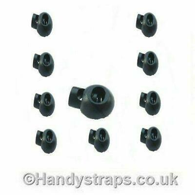 Golfball Cord Locks 50 x 3mm - 5mm Black Plastic Toggle Handy Straps