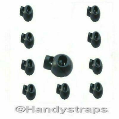 Golfball Cord Locks 25 Black Plastic 3mm - 5mm Toggle Handy Straps