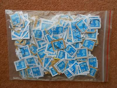 490 GB used franked LARGE 2nd second class blue machin security stamps on paper