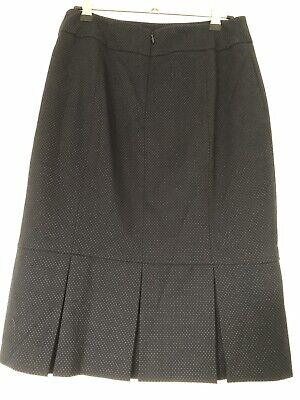 Review navy blue pencil skirt with box pleats, perfect for work. size 8