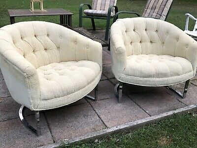Pair VTG Mid Century Modern Milo Baughman Style Woodmark Club Chairs Chrome MCM