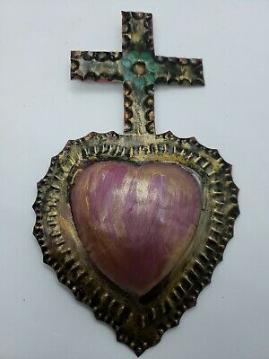 Mexican painted metal Cross over Sacred Heart cut metal wall  hanging forkart