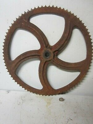 """Vintage Large 13 1/2"""" Red Rusty Cast Iron Spiral Gear Industrial Steampunk Part"""