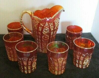 8 Pcs Imperial Marigold Carnival Octagon Pat Water Pitcher & 7 Glasses