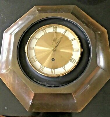 Beautiful RARE Antique German 8 Day Large Wind-up Brass Wall CLOCK