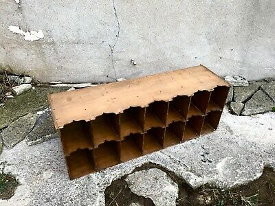 Antique Wooden Office Pigeon Hole Rack - Perfect Storage