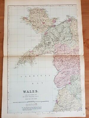 G.W.Bacon Antique Complete map of Wales c.1880