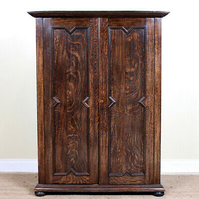 Antique Arts & Crafts Oak Wardrobe Rare Fine Quality Compactum Armoire Edwardian