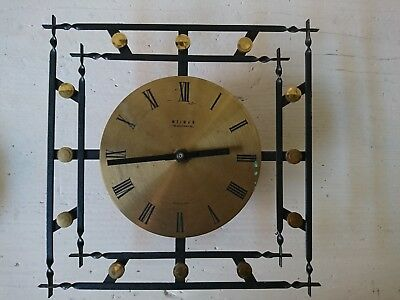 Old Weimar Wall Clock Brass Dial 60er Years Made in GDR