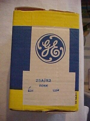 Vintage New Old Stock / NOS Box 6 GE ROSE Colored 25W Light Bulbs Standard Base