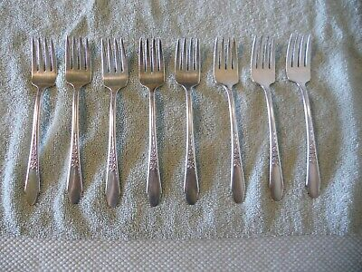 LOT of 8 WM Rogers & Son Silverplate Flatware Salad Forks Gardenia 1941