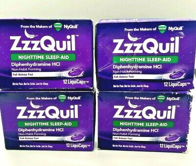 ZzzQuil Nighttime Sleep Aid Non-Habit 4 Pack x 12 Exp 07/2020 or Better
