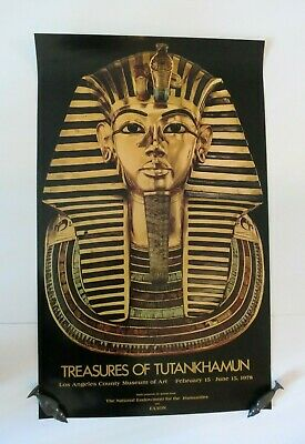 "Original Vintage Treasures Of Tutankhamun 1978 LA County Museum Poster 36"" x 22"""