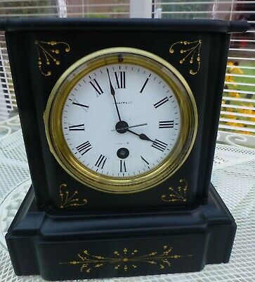 Antique 8 day Slate Mantel clock timepiece  Helliwell 1880's Fabulous condition