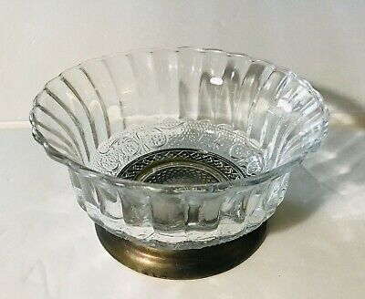 Clear Pressed Glass Candy Bowl Dish On Silver Plated Base Marks Indonesia KIG PB