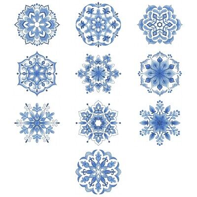 Delft Blue Snowflakes --    Embroidered Quilt Blocks-