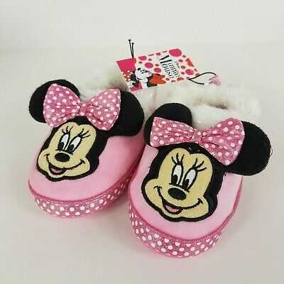 NEW Girls Toddlers XL 11-12 Slippers Disney Minnie Mouse Pink Plush Moccasins