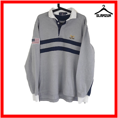 Ralph Lauren Sport Mens Polo Shirt L Large Grey Long Sleeves Cotton Gents USA