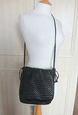Bloomingdales Vintage Cross Shoulder Intrecciato Black Leather Bag